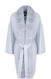 Шерстяное пальто с поясом и отделкой из меха норки St. John
