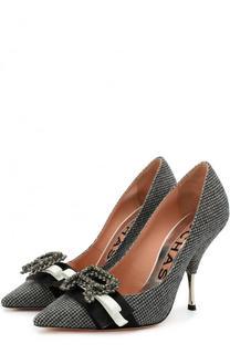 Текстильные туфли с брошами на шпильке Rochas