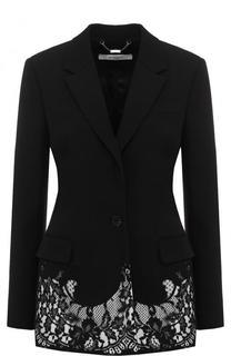 Приталенный шерстяной жакет с кружевной отделкой Givenchy