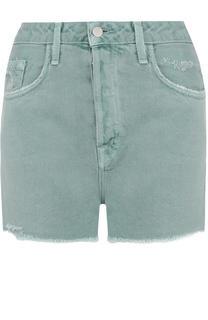Джинсовые мини-шорты с потертостями J Brand