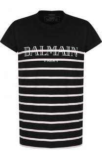 Хлопковая футболка в контрастную полоску Balmain