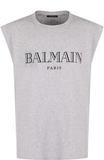 Хлопковая майка с логотипом бренда Balmain
