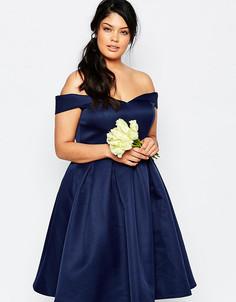 Платье миди для выпускного с пышной юбкой Chi Chi London Plus - Темно-синий