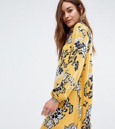 Свободное платье с открытой спиной и цветочным принтом Reclaimed Vintage - Желтый