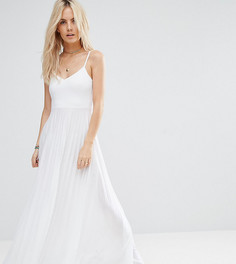 Платье макси с плиссированной юбкой ASOS PETITE - Белый