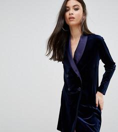 Бархатное платье мини под смокинг John Zack Petite - Темно-синий