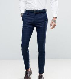 Фактурные супероблегающие брюки в клетку Only & Sons - Темно-синий