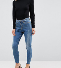 Светлые джинсы скинни c завышенной талией и отделкой спереди ASOS PETITE RIDLEY - Синий