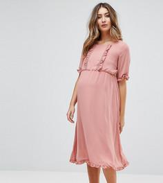 Платья со вставкой с рюшами Mamalicious - Розовый Mama.Licious