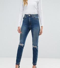 Темные узкие джинсы в винтажном стиле с завышенной талией ASOS TALL FARLEIGH - Синий