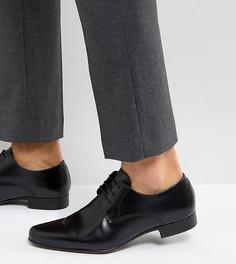 Черные кожаные туфли дерби для широкой стопы ASOS - Черный
