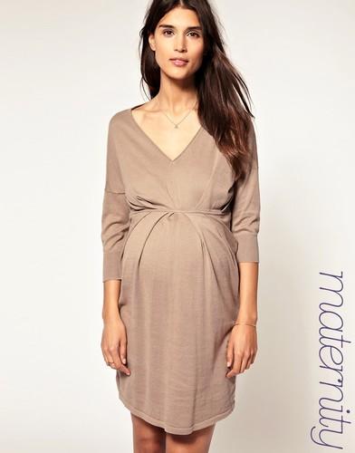 Платье с V-образным вырезом и плиссировкой ASOS Maternity - Синий