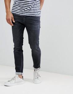 Эластичные зауженные джинсы Selected Homme - Черный