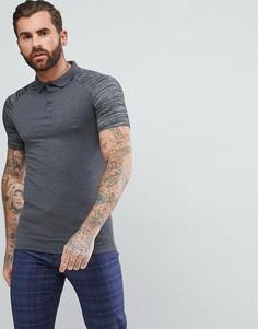 Обтягивающая футболка-поло с контрастными рукавами реглан ASOS - Серый