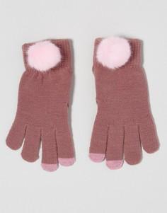 Перчатки из искусственного меха для сенсорного экрана 7X - Розовый