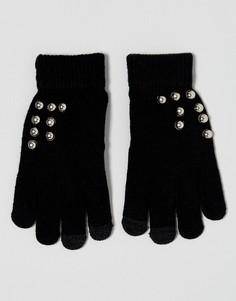 Перчатки с накладками для сенсорных экранов и отделкой заклепками 7X - Черный