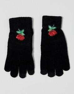 Перчатки для сенсорного экрана с цветочной вышивкой 7X - Черный