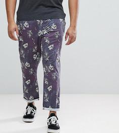 Зауженные укороченные брюки с принтом ASOS PLUS - Темно-синий