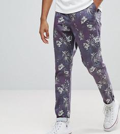 Укороченные брюки узкого кроя с выбеленным винтажным принтом листьев ASOS TALL - Темно-синий