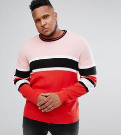 Джемпер в рубчик с красными и розовыми полосками ASOS PLUS - Красный