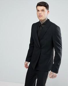Черный двубортный пиджак с золотистым рисунком ASOS - Черный