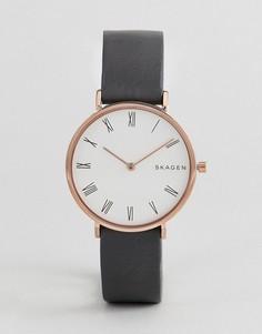 Часы с черным узким кожаным ремешком Skagen SKW2674 - Черный