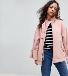 Куртка с подкладкой из искусственного меха и металлической фурнитурой ASOS PETITE - Розовый