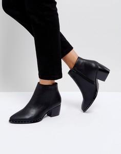Ботинки на среднем каблуке с заклепками Truffle Collection - Черный