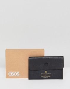 Черный кожаный кошелек для монет с отделением для карт ASOS - Черный
