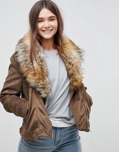 Куртка с меховым воротником Brave Soul Bellini - Коричневый