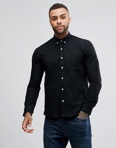 Рубашка из ткани с добавлением льна Just Junkies - Черный