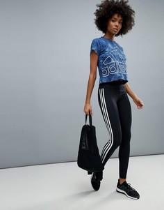 Спортивные леггинсы с тремя полосками adidas - Черный