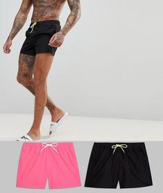 2 коротких шортов для плавания (черные/неоново-розовые) ASOS - СО СКИДКОЙ - Мульти