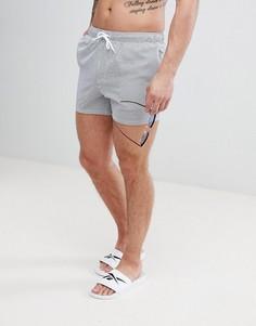 Короткие шорты для плавания в полоску из ткани сирсакер ASOS - Синий