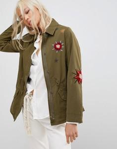 Куртка с вышивкой Maison Scotch - Зеленый