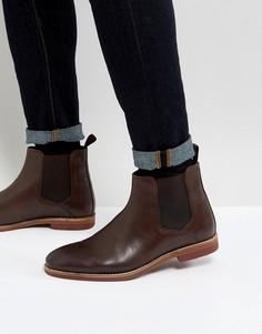 Коричневые кожаные ботинки челси ASOS - Коричневый