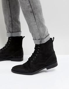 Черные кожаные ботинки на шнуровке с потертостями на подошве ASOS - Черный