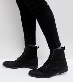 Черные кожаные ботинки для широкой стопы на шнуровке с потертостями на подошве ASOS - Черный