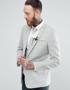 Блейзер зауженного кроя с добавлением шерсти в решетчатую клетку ASOS Wedding - Серый
