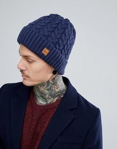 Темно-синяя шапка-бини вязки косами Dead Vintage - Синий