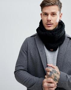 Черный шарф-снуд с узором косичка Dead Vintage - Черный