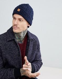 Темно-синяя шапка-бини с узором косичка Dead Vintage - Синий