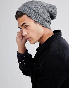 Серая свободная шапка-бини вязки косами Esprit - Серый