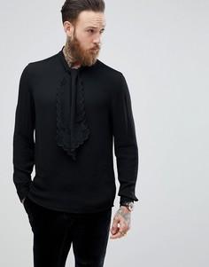 Рубашка классического кроя из вискозы с завязкой на бант ASOS - Черный