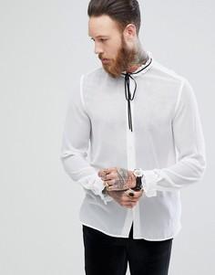 Рубашка классического кроя с оборкой и завязкой ASOS - Белый