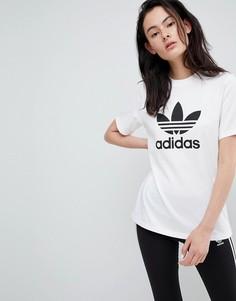 Белая оversize-футболка с логотипом-трилистником adidas Originals - Белый
