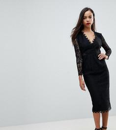 Кружевное платье-футляр миди с длинными рукавами ASOS PETITE - Черный