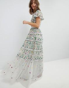 Платье с цветочной вышивкой, высоким воротом и многослойной юбкой Needle & Thread - Синий