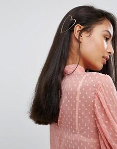 Заколка для волос в форме сердца Orelia - Золотой