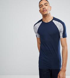 Темно-синяя обтягивающая футболка со вставками на плечах ASOS TALL - Темно-синий